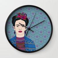 frida kahlo Wall Clocks featuring Frida Kahlo by Bianca Green