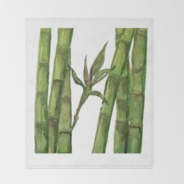 Bamboo Watercolor - Green Palette Art Print Throw Blanket