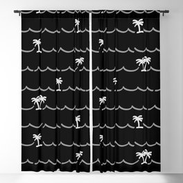 Tropica Night - black and white tropical pattern Blackout Curtain