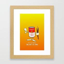 Tomato soup clock (orange) Framed Art Print