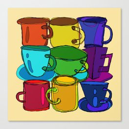 Tea Cups and Coffee Mugs Spectrum Canvas Print