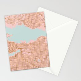 Pink and gold Vancouver map, Canada Stationery Cards