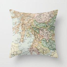 South Scotland Vintage Map Throw Pillow