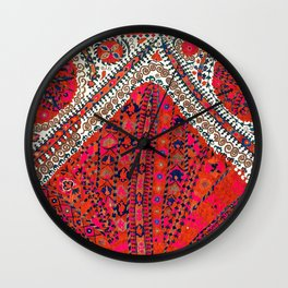 Pink Wildflower Sunshine III // 18th Century Colorful Pinkish Red Blue Sapphire Metallic Happy Patte Wall Clock