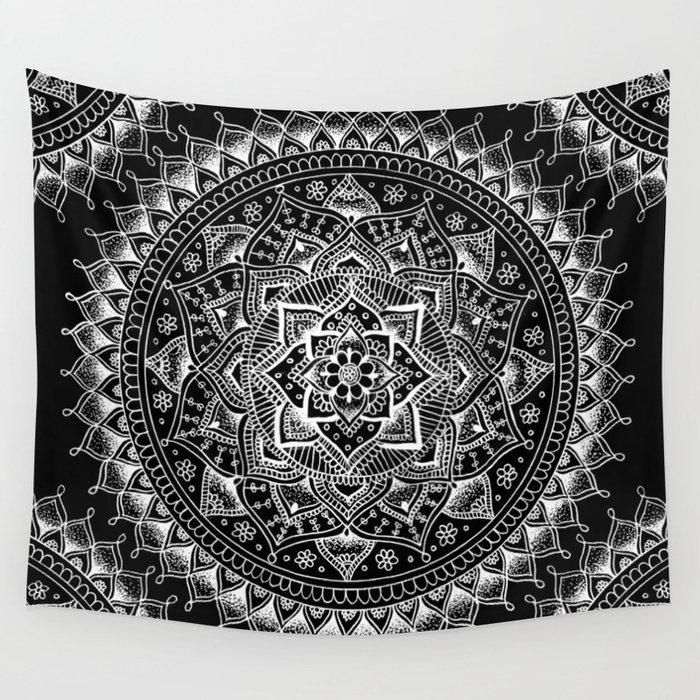 White Flower Mandala on Black Tapsestry by Laurel Mae Editions