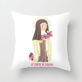 St. Terese of Lisieux Throw Pillow