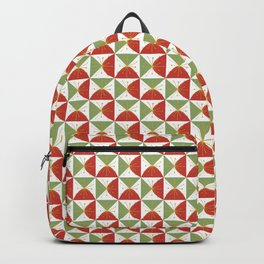 Retro Holiday Minimalist Geometric Checkerboard Stars in Christmas Red Green Backpack