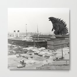 The White Star Line and Godzilla Metal Print