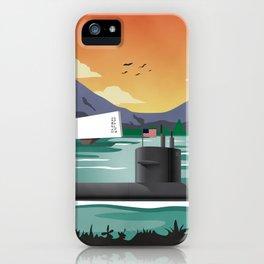 Pearl Harbor, HI - Retro Submarine Travel Poster iPhone Case