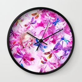 Dragonfly Lullaby in Pink and Blue Wall Clock