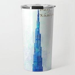 Burj Khalifa, Dubai, Emirates in WaterColor art Travel Mug