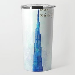 Burj Khalifa, Dubai, Emirates in WaterColor art Travel Mug