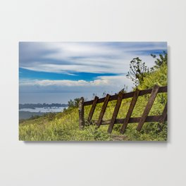 Wood Fence Lining a Meadow with Lake Views on Mombacho Volcano in Nicaragua Metal Print
