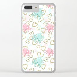 Pastel and Gold Octopus Pattern Clear iPhone Case