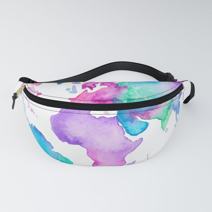 Modern world map globe bright watercolor paint Fanny Pack