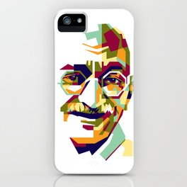 Mahatma Gandhi in colorful popart style iPhone Case