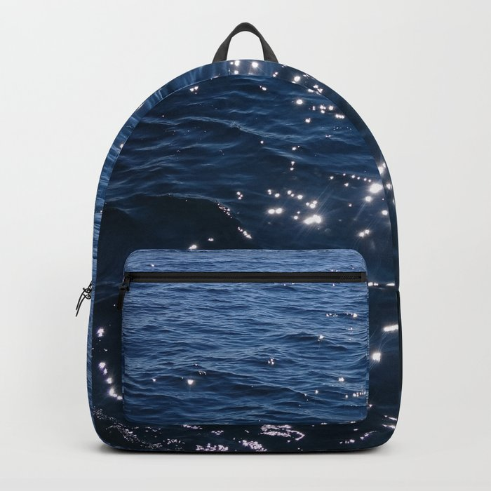 Sparkly Deep Blue Sea Waves Backpack
