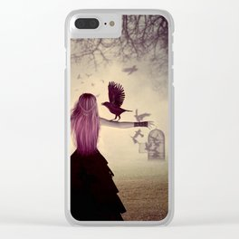 Dark foggy scene with witch woman with crows Clear iPhone Case