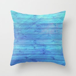 phthalo blue distressed stained painted wood board wall Throw Pillow