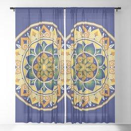 Italian Tile Pattern – Peacock motifs majolica from Deruta Sheer Curtain