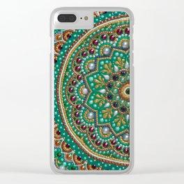 Green Mandala Clear iPhone Case
