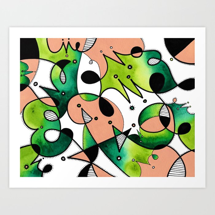 Beige Abstract Critters Art Print