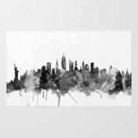 new york skyline Area & Throw Rugs featuring New York City Skyline by artPause