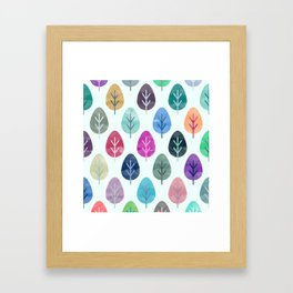 Watercolor Forest Pattern Framed Art Print