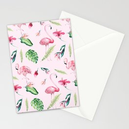 Blush pink green watercolor monster leaves flamingos pattern Stationery Cards