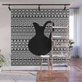 Aztec Influence Pattern & Jug Monochrome Wall Mural