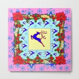PINK ART LEAPING DEER POINSETTIAS & SNOWFLAKES CHRISTMAS Metal Print