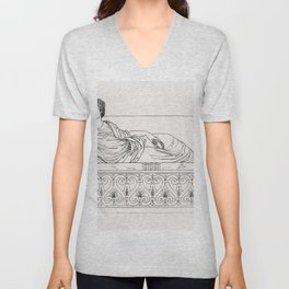 Roman lady on a couch from An  of the Egyptian Grecian and Roman costumes by Thomas Baxter (1782-182 Unisex V-Neck