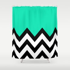 TEAL COLORBLOCK CHEVRON Shower Curtain