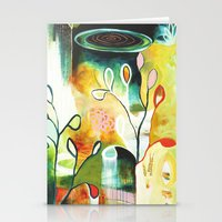 "flora bowley Stationery Cards featuring ""Deep Growth"" Original Painting by Flora Bowley by Flora Bowley"