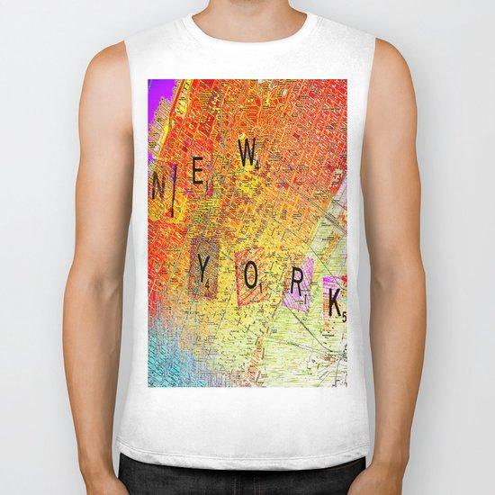 New York Map Biker Tank