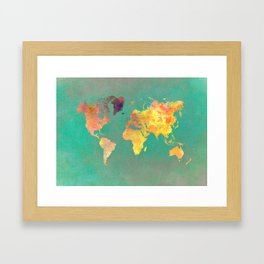 world map 103 #worldmap #map Framed Art Print