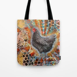 Zebra the Chicken Mixed Media Painting Tote Bag