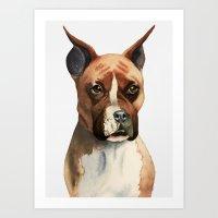 Boxer Dog Watercolor Painting Art Print