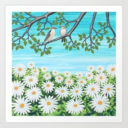 red bellied woodpeckers and daisies Art Print