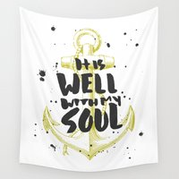 scripture Wall Tapestries featuring It is Well With My Soul by Zeke Tucker