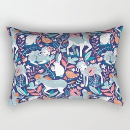 Spring Joy // navy blue background pale blue lambs and donkeys coral and teal garden Rectangular Pillow