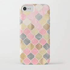 Silver Grey, Soft Pink, Wood & Gold Moroccan Pattern iPhone 7 Slim Case