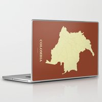colombia Laptop & iPad Skins featuring Colombia map by Rafael's CartoPosters