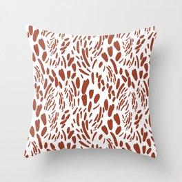 Orange brown abstract modern brushstrokes pattern Throw Pillow