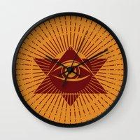 third eye Wall Clocks featuring Third Eye by Stranger Designs
