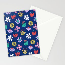 Nordic Floral in Mod Rainbow + Navy Blue Stationery Cards