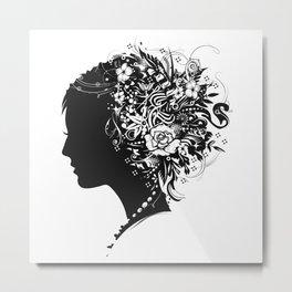 Papercut Portrait Metal Print