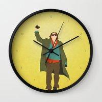 breakfast club Wall Clocks featuring The Breakfast Club (80's Minimalism Series) by Trevor Downs
