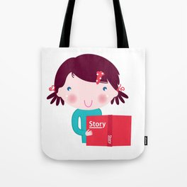 Cute beautiful girl with book isolated on white Tote Bag