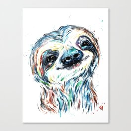 Smiling sloth baby colorful watercolor painting Canvas Print